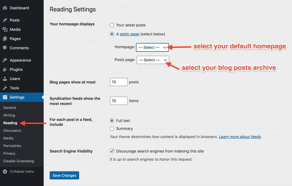 WordPress Select Default Website Page