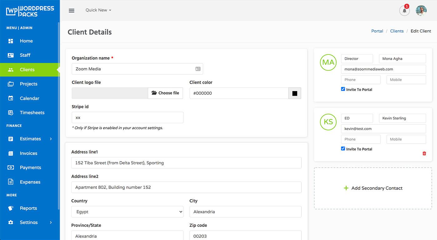 WordPress Portal Client Details