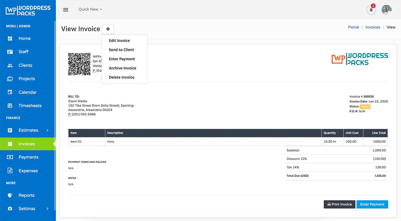 WordPress Portal Invoice Details