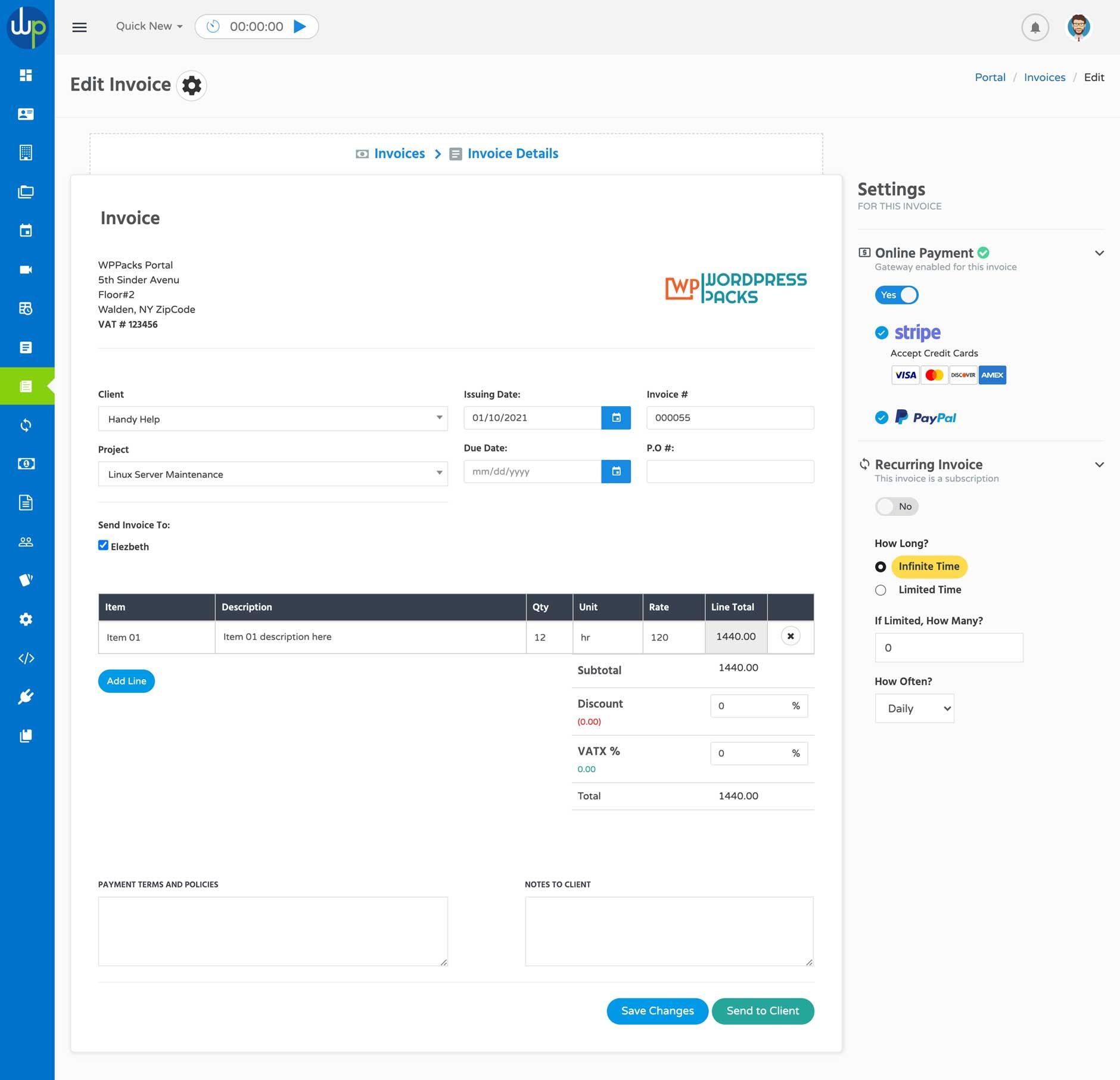 WP Portal Invoice