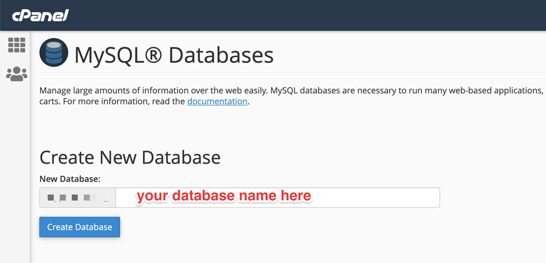 cPanel Create New Database
