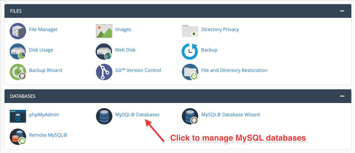 cPanel MySQL Database Manager