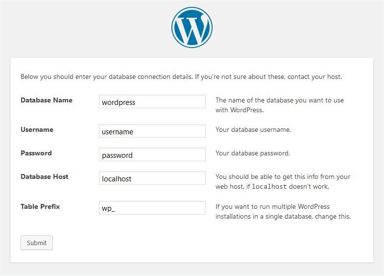 WordPress Installation Database Screen