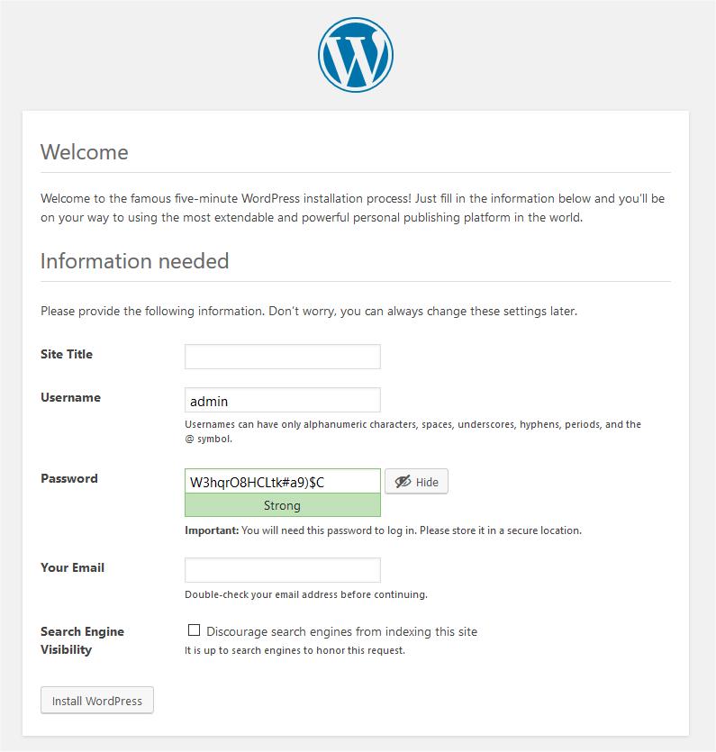 WordPress Installation Info Screen