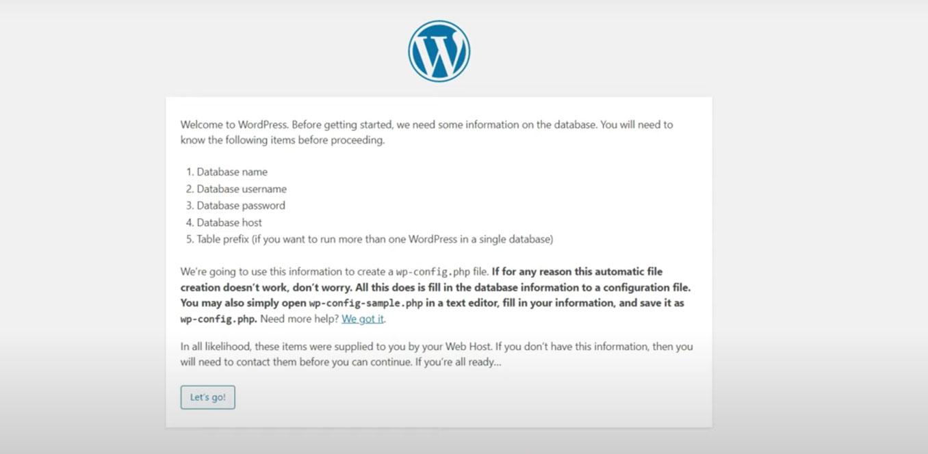 WordPress Installation Context Screen