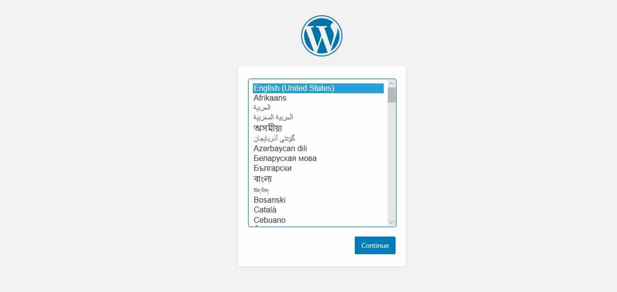 WordPress Installation Language