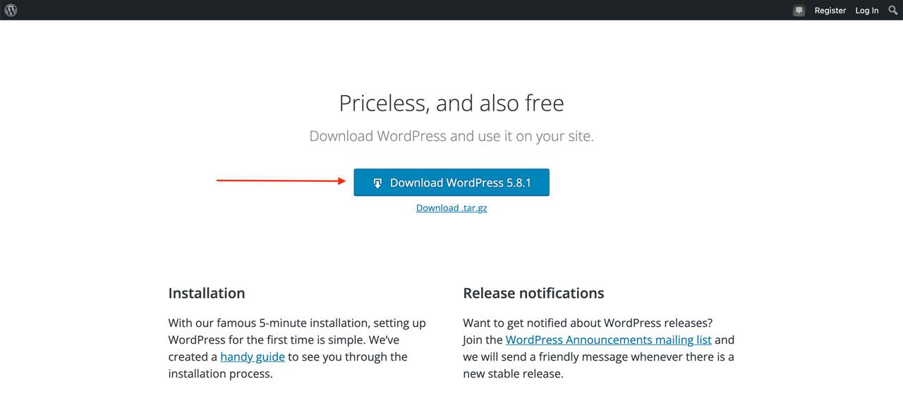 WordPress Website Download Page